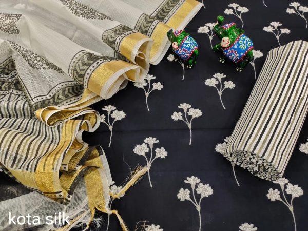 Black cotton suit with silk dupatta set