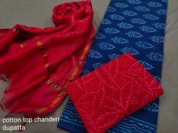 Crismon and blue cotton salwar Kammez ethnic wear ladies suit