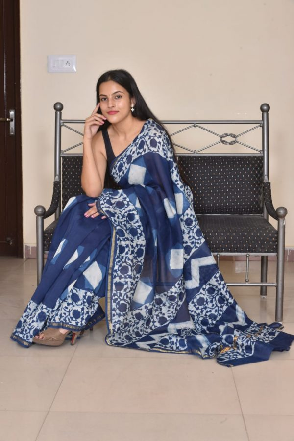 Navy blue printed saree for party