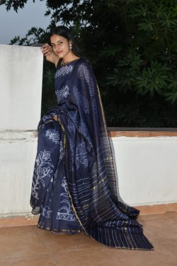 Navy blue printed cotton silk saree