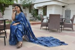 Persian blue block print silk cotton sarees