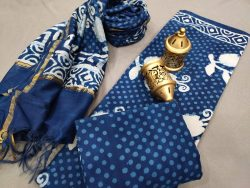 Navy blue ethnic wear Salwar suit with chanderi dupatta