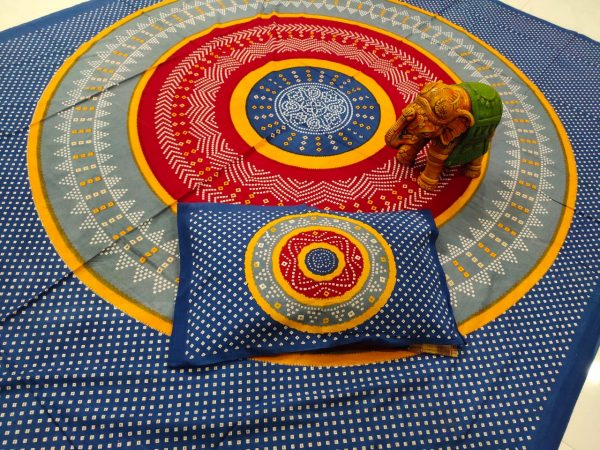 Persian blue cotton bedsheet with 2 pillow cover