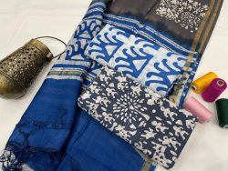 Persian blue ethnic wear ladies suit with chanderi dupatta