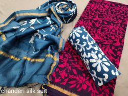 Cobalt blue And Cerise chanderi suit wholesale