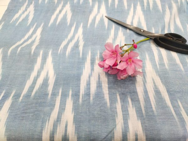 Baby blue ikkat running fabric for indian ethnic wear suit