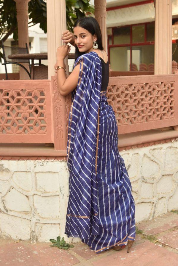 Blue-violet chanderi cotton bagru print saree