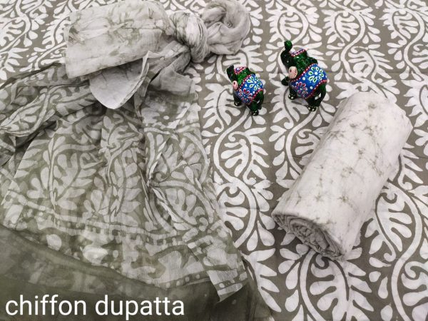 French Taupe and white cotton suits with pure chiffon dupatta wholesale