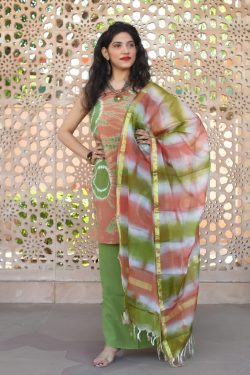 Olive and Copper Orange cotton suit with kota dupatta
