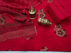 crimson  cotton suit with kota doria dupatta set