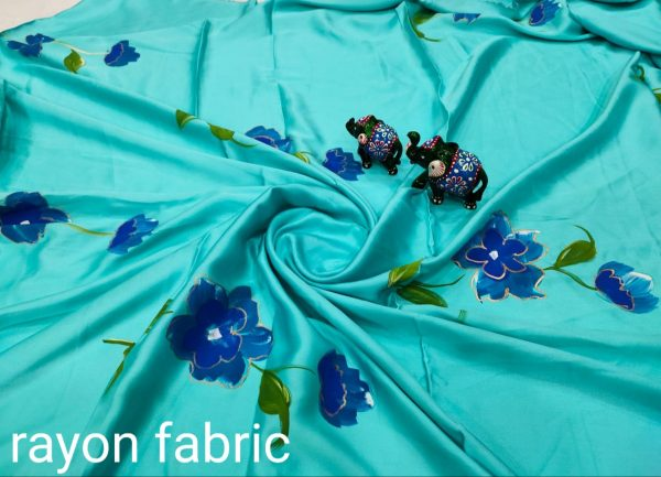 Turquoise blue  Hand painted pure Rayon running fabric dress material set