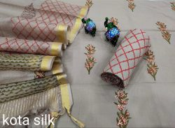 Silver ladies suits with kota silk dupatta for office wear
