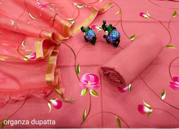 Carnation pink Hand painted cotton suit with heavy dupatta