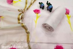 Light Champagne Hand painted cotton suit with heavy dupatta