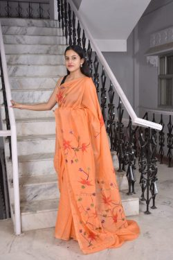 Coral chanderi cotton printed sarees