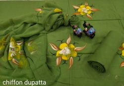 Sea green Hand painted cotton salwar suits with chiffon dupatta