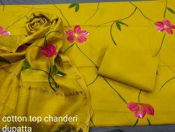 Lemon cotton salwar Kammez ethnic wear ladies suit