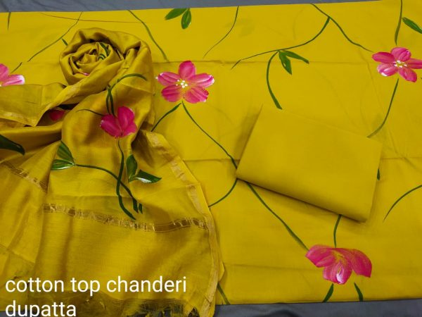 Lemon Hand painted cotton salwar Kammez ethnic wear ladies suit
