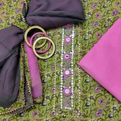 Pear and pink gota hand work cotton embroidered salwar suit