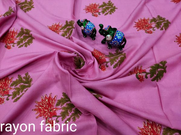 Orchid rayon running dress material set