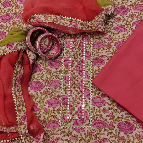 Desert sand and Brick red gota work suits online india with chiffon dupatta