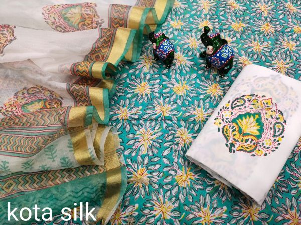 Jungle green cotton suit with heavy dupatta
