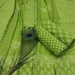 Green online cotton printed dress material