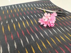 Black Pure ikkat running fabric for indian ethnic wear dress material