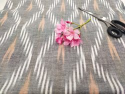 Gray Pure ikkat running fabric for indian ethnic wear dress material