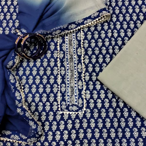 Persian blue gota work cotton suit with hand embroidery