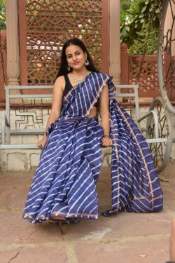 Blue-violet chanderi cotton bagru print saree