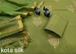 Olive office wear salwar suits with kota silk dupatta
