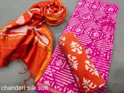 Magenta and orange chanderi suit dress material