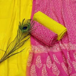 Magenta rose and Yellow unstitched cotton salwar kameez material online india