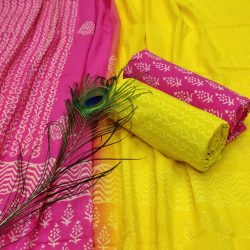 Magenta rose and Yellow cotton suit pieces with price