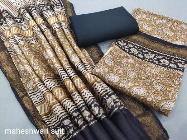 Copper maheshwari silk suit ethnic ladies suits online