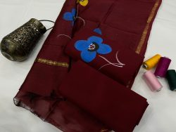 Maroon Cotton salwar suit with chanderi dupatta
