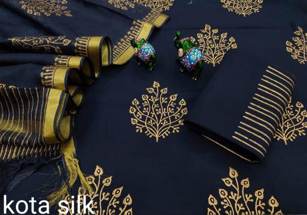 Prussian blue cotton suit with kota dupatta
