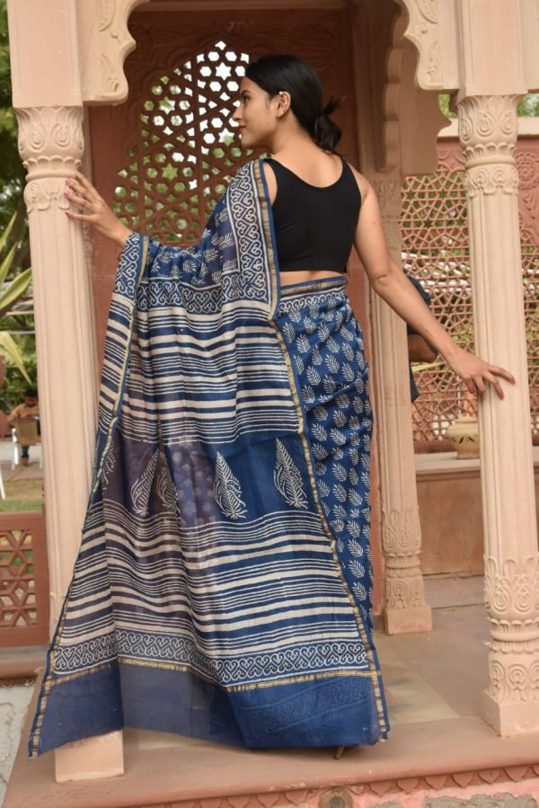 Deep Persian Blue chanderi silk sarees online