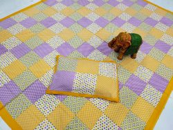 Amber and Blue-violet pure Cotton double size bedsheet 90/108 inch
