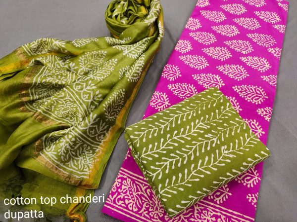 Magneta And Olive ethnic wear ladies suit with chanderi dupatta