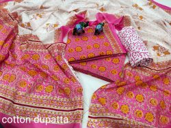 Magenta And white cotton dress materials with price