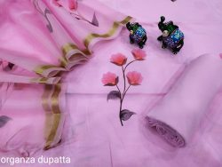 Pink Hand painted cotton suit with Organza dupatta set