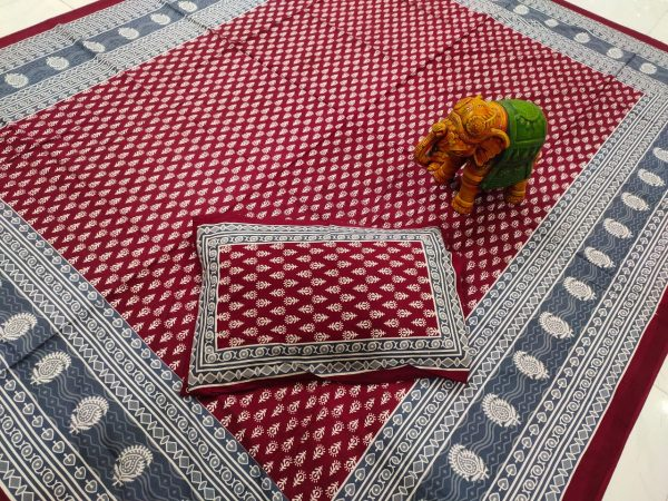 Sangria cotton bedsheet with 2 pillow cover