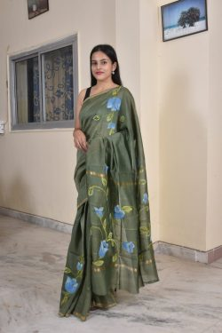 Olive Green block print chanderi saree
