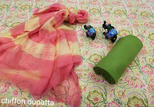 Pink and Champagne cotton suits with chiffon dupatta online