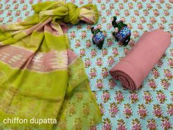 Lime and baby blue designer cotton suits with chiffon dupatta
