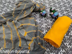 Amber and gray cotton suits with chiffon dupatta online