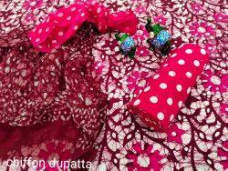 Rose cotton suit with chiffon dupatta online