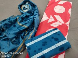 Carnation and blue Cotton salwar suit with chanderi dupatta